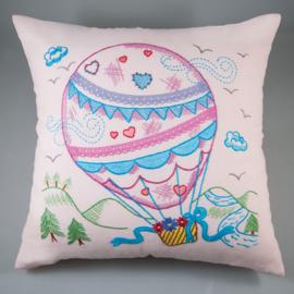 Borduurpakket voorbedrukt kussenhoes luchtballon