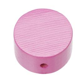 """Houten vormkraal """"schijf"""" per stuk roze"""