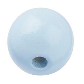 "Houten kraal ""15 mm.""per stuk blauw"