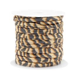 Stitched elastisch lint 4 mm. 25 cm. tiger Beige-brown