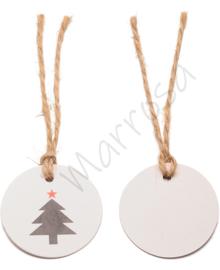 Kerstlabel rond wit