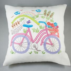 Borduurpakket voorbedrukt kussenhoes zomer fiets