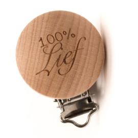 """Speenclip hout """"100% Lief"""""""