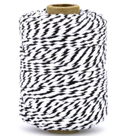 Cotton Twine cord - zwart - wit