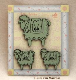 3 Houten schapen knopen