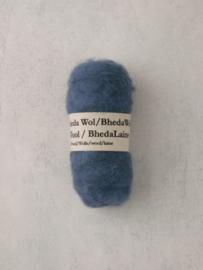Bhedawol - gekaard vlies - 25 gr. blauw