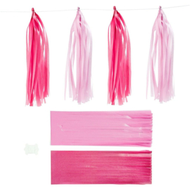 Papieren tassels roze