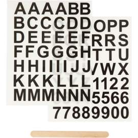 Rub-on sticker letters en cijfers zwart