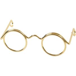Poppenbrilletje goudkleurig 35 mm.