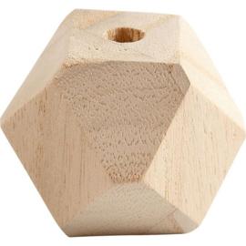 Kraal hexagon hout 43 mm. per stuk