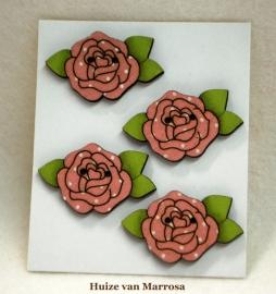 4 Houten rozen knopen stof