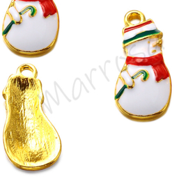 Bedel sneeuwpop rood-wit/goudkleur