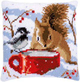 Kruissteekkussen borduurpakket Eekhoorn en Mees