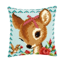 Kruissteekkussen borduurpakket Bambi met strikje