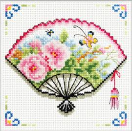 Borduurpakket voorbedrukt Rose Fan