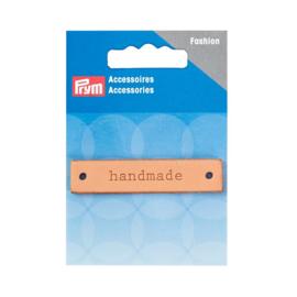 """Leren label rechthoek """"Handmade"""""""