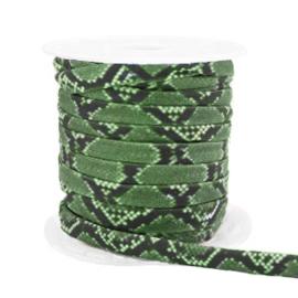 Stitched elastisch lint 4 mm. 25 cm. Snake green