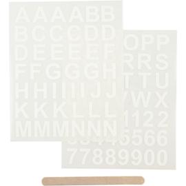 Rub-on sticker letters en cijfers wit