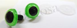 Veiligheidsoogjes 18 mm. fel groen per paar