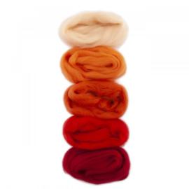 Europese Merino Lontwol mix set oranje-rood