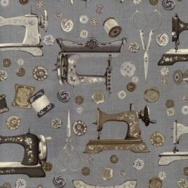 Stof Vintage Couturier naaimachine houtskooltinten