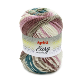 Katia Easy Jacquard 351 - Groenblauw-Bleekrood
