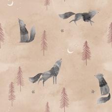 P18 - Popeline stof Wolf Howl