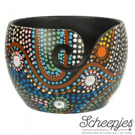 Scheepjes Yarn bowl mango hout 11x12,5cm Dot Painting