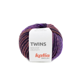Katia Twins 154 - Bleekrood-Parelmoer-lichtviolet-Kaki-Wijnrood