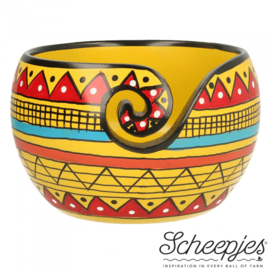 Scheepjes Yarn bowl mango hout 11x12,5cm Yellow Stripe