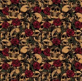 Poplin Skulls With Roses 01