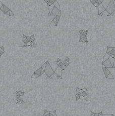SM5 - Stof pluche of sweater melange Origami Racoons