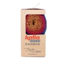 Katia Rainbow Socks 54-Nachtblauw-Rood-Roestbruin
