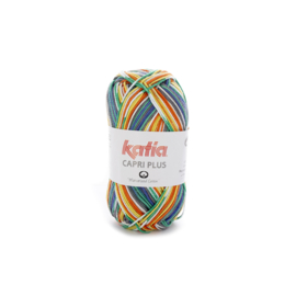 Katia Capri Plus 105 - Parelmoer-lichtgrijs-Geel-Groen-Nachtblauw-Oranje