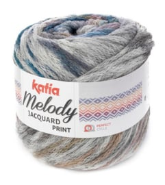 Katia Melody Jacquard Print 502 - Grijs-Oker-Groenblauw-Parelmoer-lichtviolet
