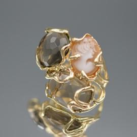 Ring crystals en camee