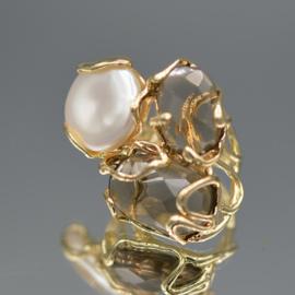 Ring parel en smokey crystals