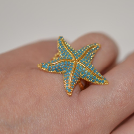 Ring zeester turquoise