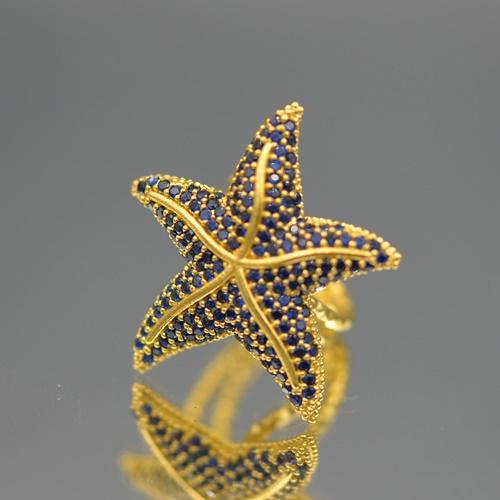 Ring zeester blauw