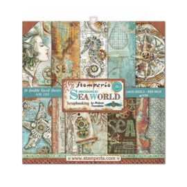 Stamperia Mechanical Sea World 8x8 Inch Paper Pack