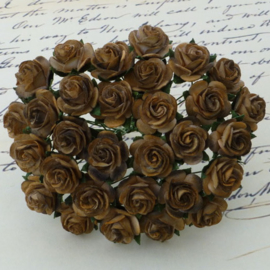 2-Tone Chocolate Brown Open Roses - 20 mm
