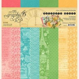 Graphic 45 Ephemera Queen 12x12 Paper Pad  Patterns & Sollids