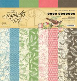 Graphic 45 Bird Wachter 12x12 Paper Pad  Patterns & Sollids