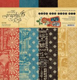 Pre-order Graphic 45 Come One, Come All! 12x12 Paper Pad  Patterns & Sollids