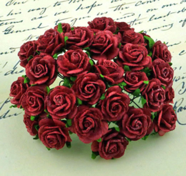 Deep Red Open Roses - 20 mm