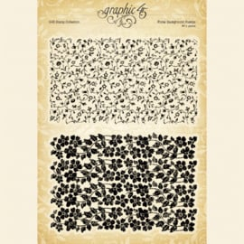 Graphic 45 Floral Background Clear Stamps