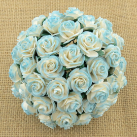 2-Tone Light Turquoise Open Roses - 15 mm