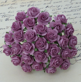Dark Lilac Open Roses - 15 mm