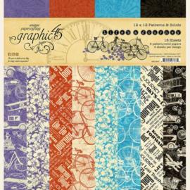 Graphic 45 Life's a Journey 12x12 Paper Pad  Patterns & Sollids