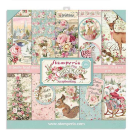 Stamperia Pink Christmas 12x12 Inch Paper Pack